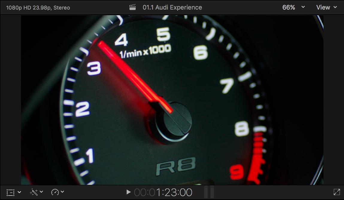 ビューアに、速度計のイメージを含むルミナンスキー前景ビデオが表示されている