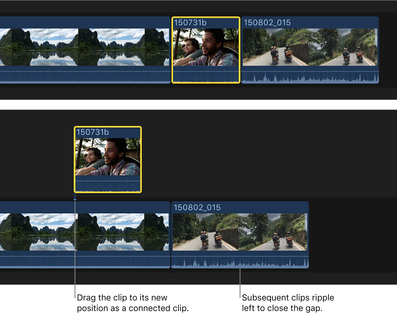 接続されたクリップとして基本ストーリーラインから新しい位置にドラッグされているタイムライン内のクリップ。基本ストーリーライン内の後続のクリップが、ギャップを埋めるために左にリップルしている