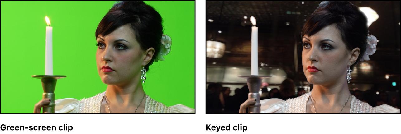 背景イメージへの合成前および合成後の緑のスクリーンクリップが表示されているビューア