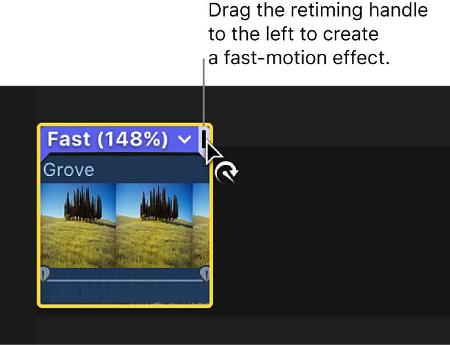 タイムラインでクリップの上に表示されたリタイミングエディタのリタイミングハンドルを左にドラッグ中。ファストモーションが作成され、選択範囲の上にあるバーが青色で表示されている