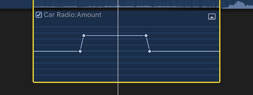 「オーディオアニメーション」エディタ。作成されたキーフレームが表示されている