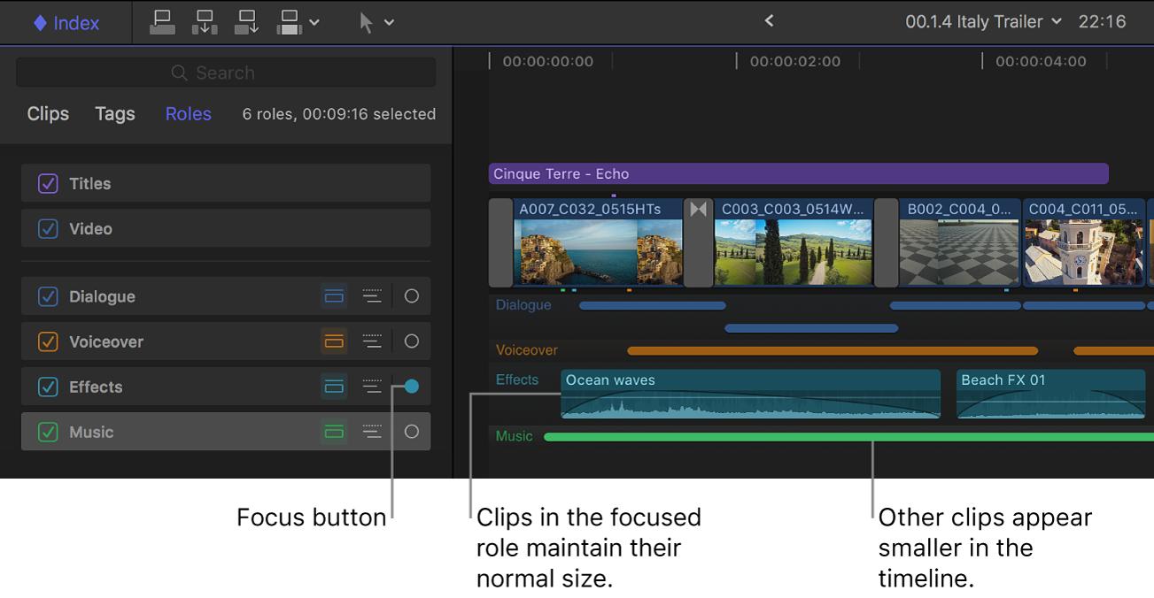 タイムラインインデックスで「エフェクト」ロールの「焦点」ボタンが強調表示され、タイムラインでほかのオーディオロールがしまわれている