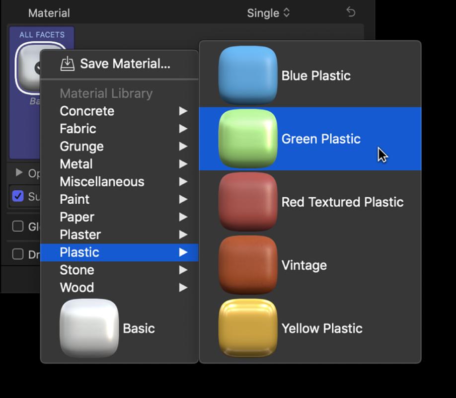「テキスト」インスペクタの「3Dテキスト」セクション。素材プリセットのポップアップメニューと「プラスチック」サブメニューが表示され、「緑のプラスチック」が選択されている