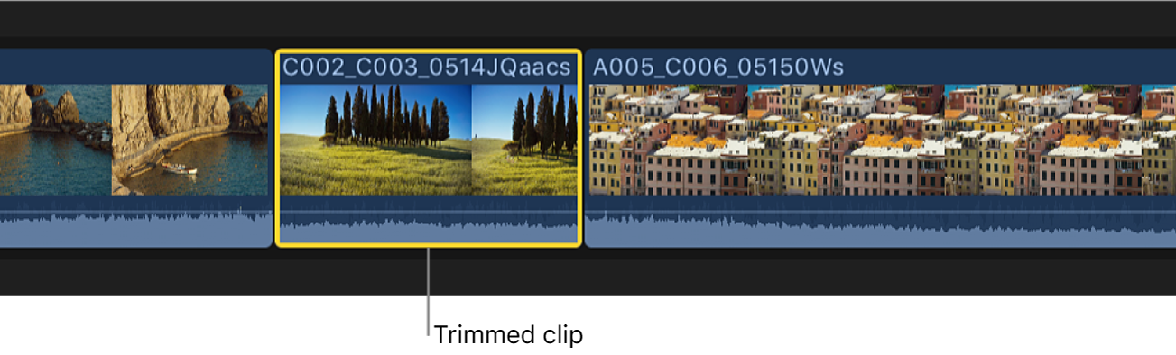 選択範囲の開始点と終了点にトリムされたタイムライン内のクリップ