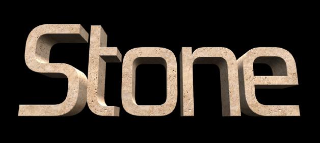 ビューアに表示された3Dテキスト。「石」の材質が適用されている