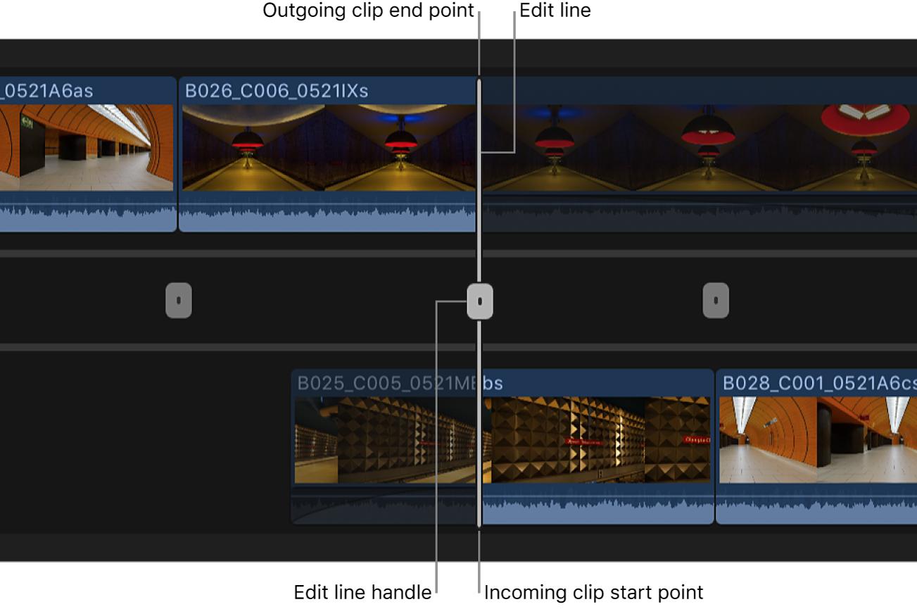 タイムラインで詳細編集が開き、編集点を調整するためのハンドルが表示されている