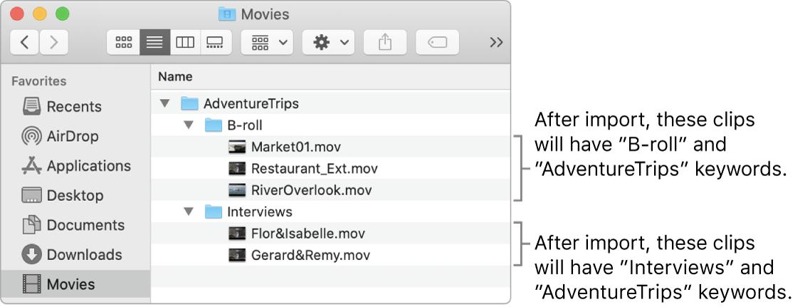 Finderにフォルダ内のソースメディアが表示されている
