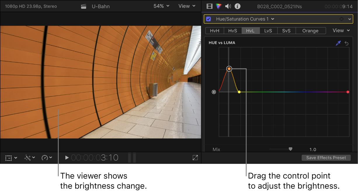 左のビューアにはブライトネスの変更が表示され、右の「カラー」インスペクタでは「ヒュー対ルミナンス」カーブにコントロールポイントが表示されている