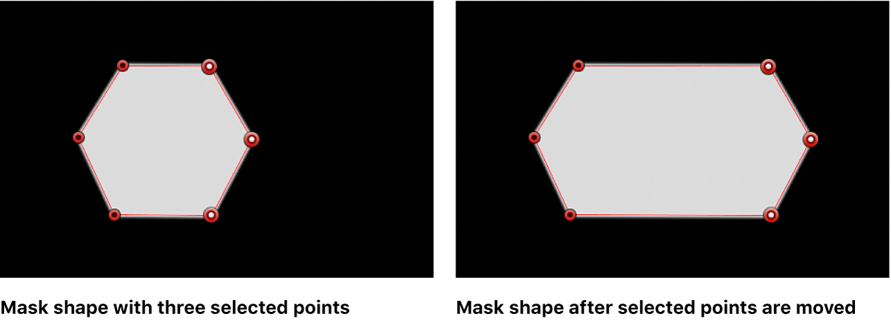 3つのコントロールポイントを右に移動する前と移動した後のマスクシェイプが表示されているビューア