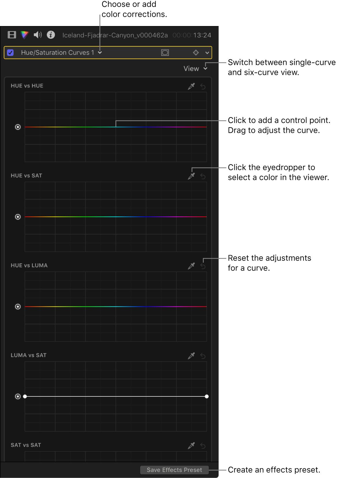 「カラー」インスペクタのヒュー/サチュレーションカーブ