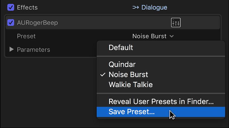 「オーディオ」インスペクタの「エフェクト」セクション。「プリセット」ポップアップメニューの「プリセットを保存」オプションが表示されている