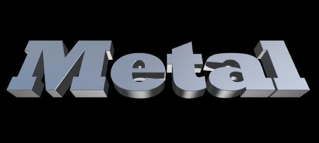 ビューアに表示された3Dテキスト。「メタル」の材質が適用されている