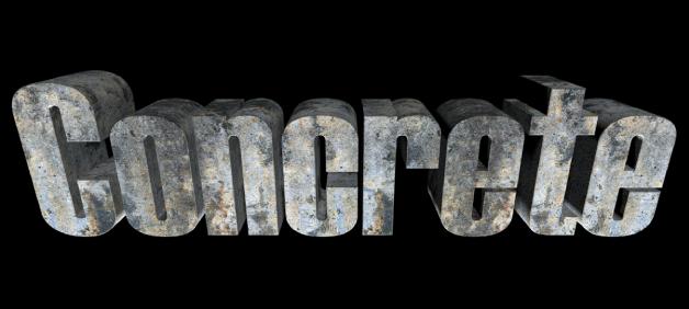 ビューアに表示された3Dテキスト。「コンクリート」の材質が適用されている