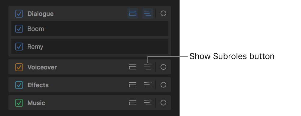 タイムラインインデックスの「ロール」パネルに表示されたロールの「サブロールを表示」ボタン