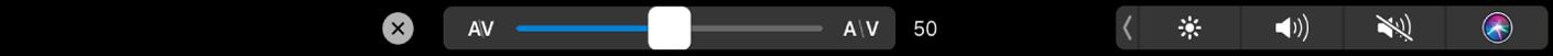 Touch Barに「テキストカーニング」スライダが表示されている