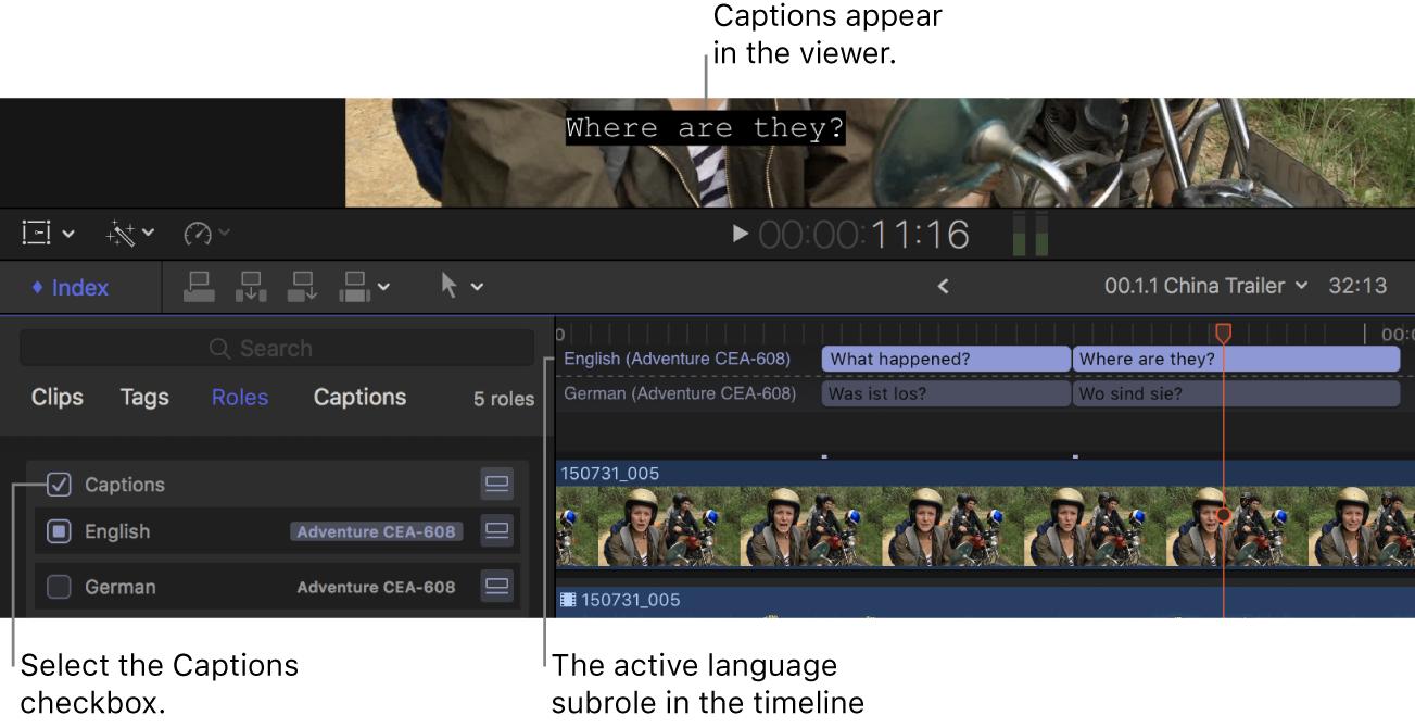 タイムラインインデックスで選択されている「キャプション」チェックボックスと、ビューアに表示されているアクティブな言語サブロールのキャプション