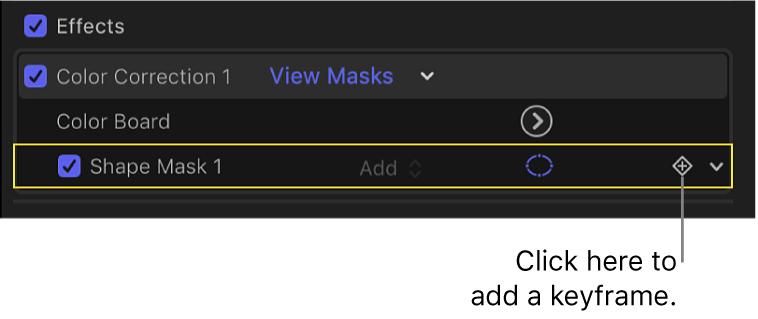 「ビデオ」インスペクタ。シェイプマスクの「キーフレーム」ボタンが表示されている