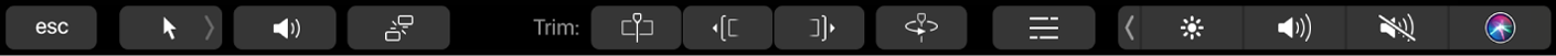 Touch Barにタイムラインでの編集用のコントロールが表示されている
