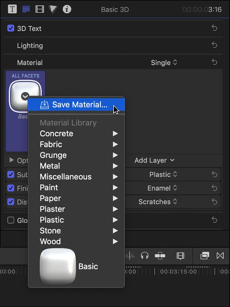 「テキスト」インスペクタの「3Dテキスト」セクション。素材プリセットのポップアップメニューが表示されている