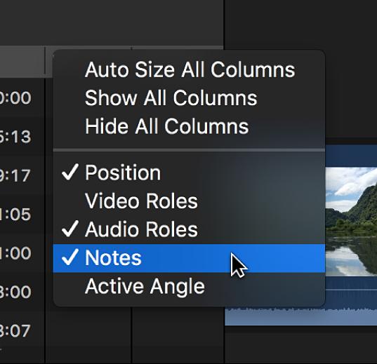 ショートカットメニューを使用してタイムラインインデックスに「メモ」列を追加している