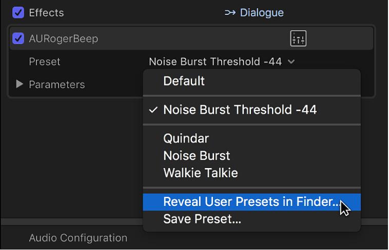 「オーディオ」インスペクタの「エフェクト」セクション。「プリセット」ポップアップメニューの「Finderにユーザプリセットを表示」オプションが表示されている
