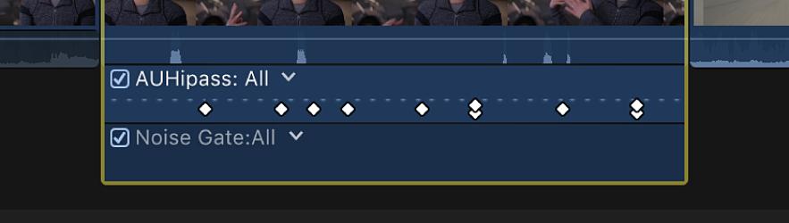 「オーディオアニメーション」エディタ。複数のパラメータのキーフレームが同じポイントに表示されている
