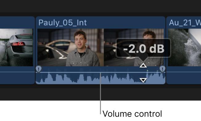 タイムラインでクリップの音量レベルが調整されている