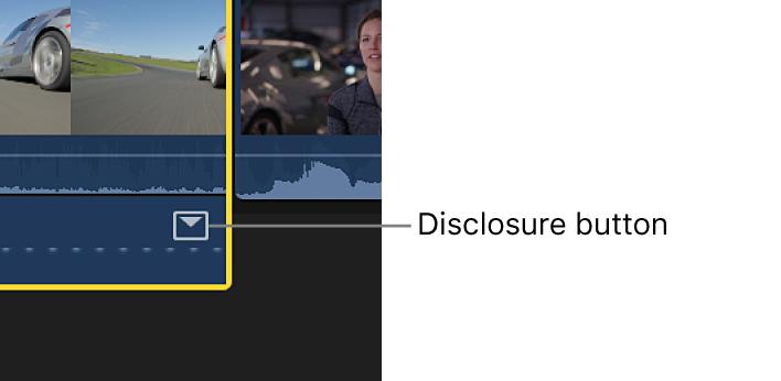 「オーディオアニメーション」エディタ内のエフェクト用開閉用三角ボタン