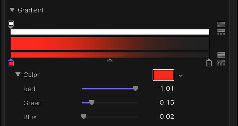 グラデーションコントロールにある、赤、緑、青のカラーチャンネルのスライダ