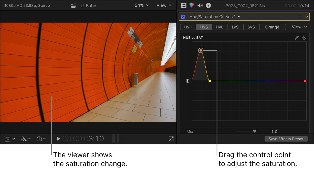 左のビューアにはサチュレーションの変更が表示され、右の「カラー」インスペクタでは「ヒュー対サチュレーション」カーブにコントロールポイントが表示されている