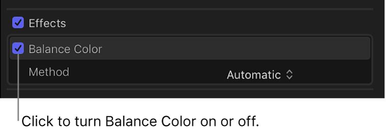 「ビデオ」インスペクタの「エフェクト」セクション。「バランスカラー」チェックボックスとカラーバランス解析の状態が表示されている