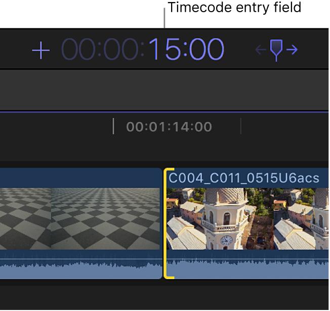 入力された継続時間を示しているタイムコード表示
