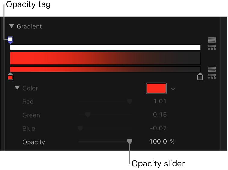 グラデーションコントロールの不透明度スライダ