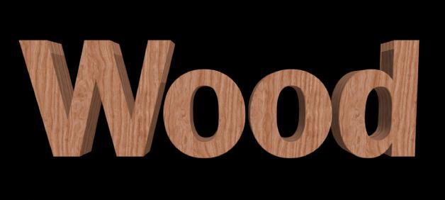 ビューアに表示された3Dテキスト。「木」の材質が適用されている