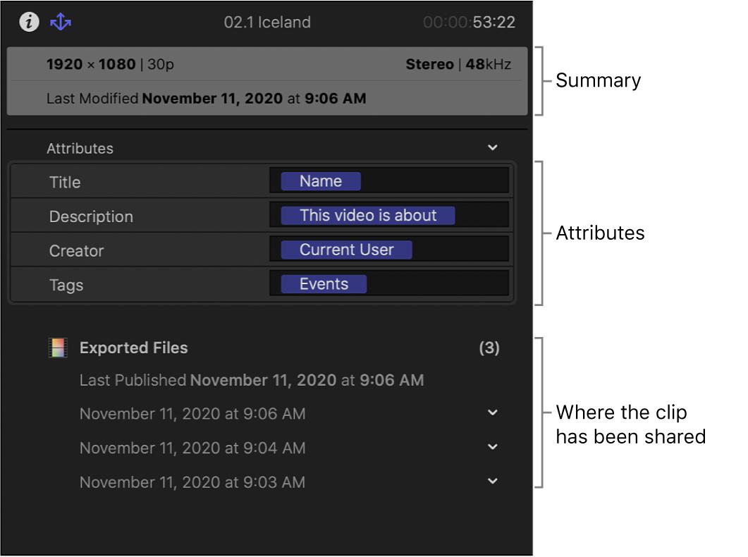 概要情報、共有項目に含まれるメタデータ、クリップの共有場所が表示された「共有」インスペクタ
