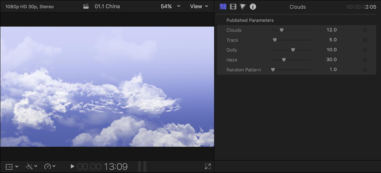 左のビューアに「雲」の背景が表示され、右の「ジェネレータ」インスペクタに背景クリップの設定が表示されている