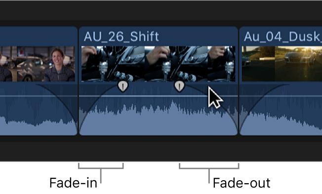 先頭にオーディオフェードイン、末尾にオーディオフェードアウトが適用されたタイムラインのクリップ