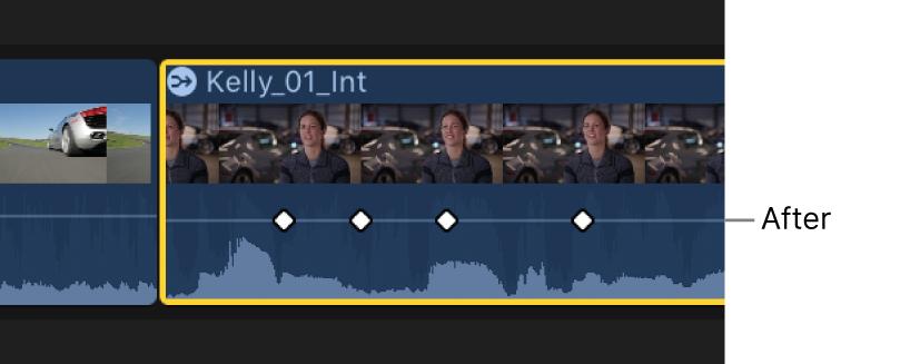 「オーディオアニメーション」エディタ内のキーフレームカーブ。調整後の平らな状態
