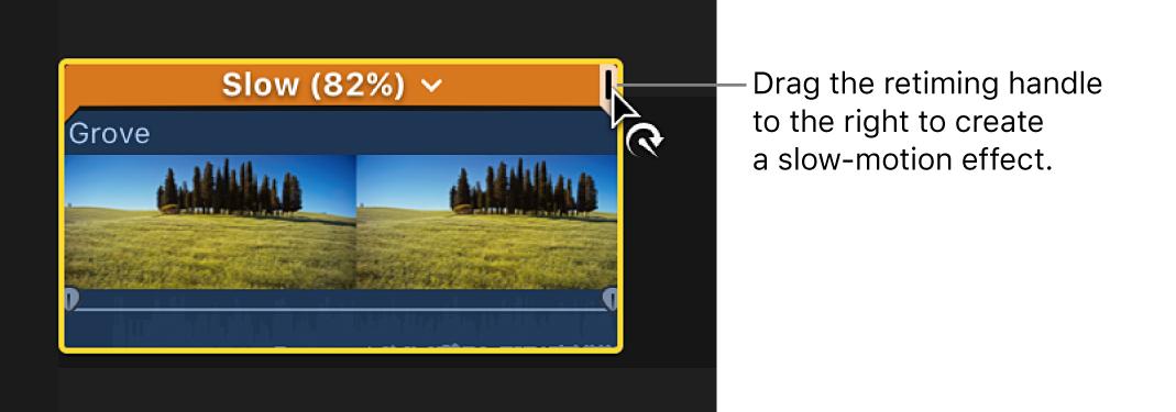 タイムラインでクリップの上に表示されたリタイミングエディタのリタイミングハンドルを右にドラッグ中。スローモーションが作成され、選択範囲の上にあるバーがオレンジ色で表示されている