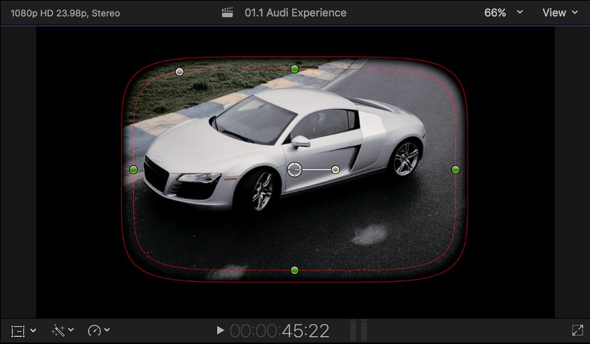 ビューアに、「シェイプマスク」のデフォルトのオンスクリーンコントロールが表示されている(フレームの中央に、一部がぼやけた角丸四角形が表示されている)