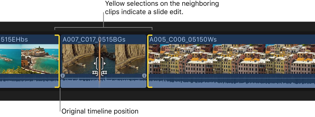 Optionキーを押したまま、タイムラインでドラッグされているクリップ。隣接するクリップに、スライド編集を示す黄色の選択範囲が表示されている
