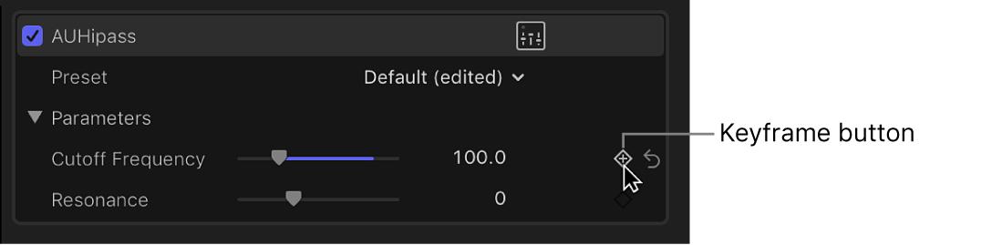 「オーディオ」インスペクタ内のエフェクト用の「キーフレーム」ボタン