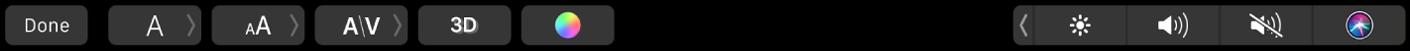 Touch Barにタイトルの書式設定および編集のためのコントロールが表示されている