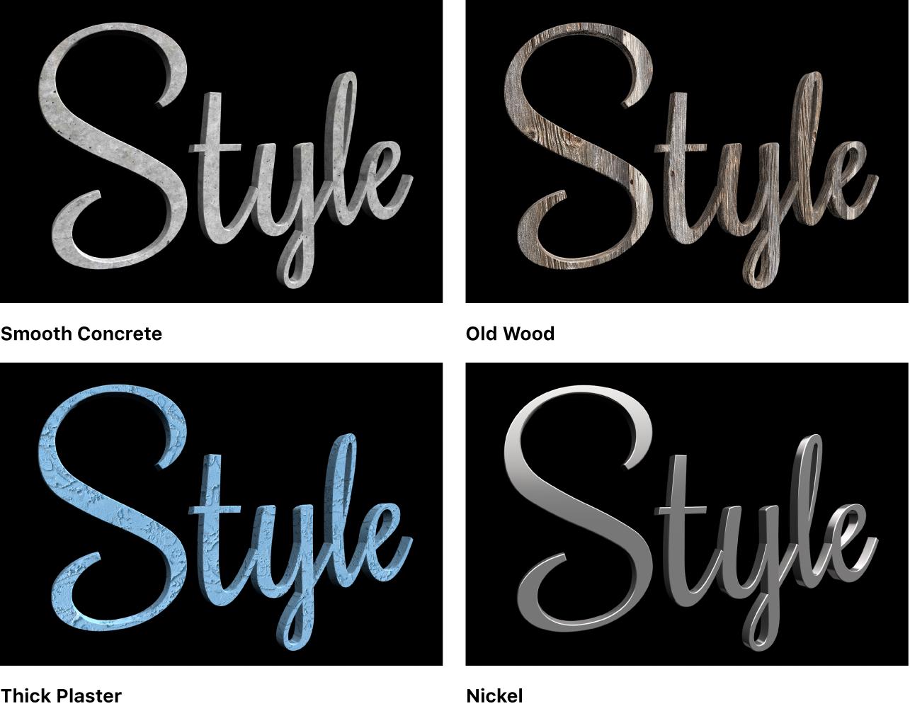 「平滑なコンクリート」、「古い木」、「厚塗りのしっくい」、「ニッケル」という異なるプリセット素材を適用した4つのバージョンの3Dテキストが表示されているビューア。