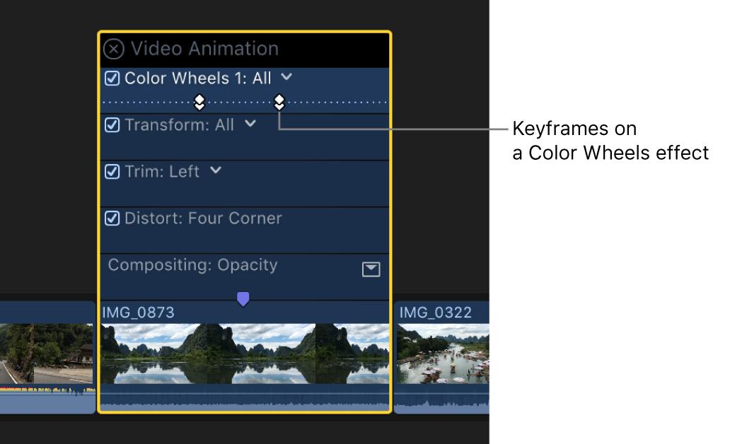 「ビデオアニメーション」エディタ。色補正エフェクトのキーフレームが表示されている