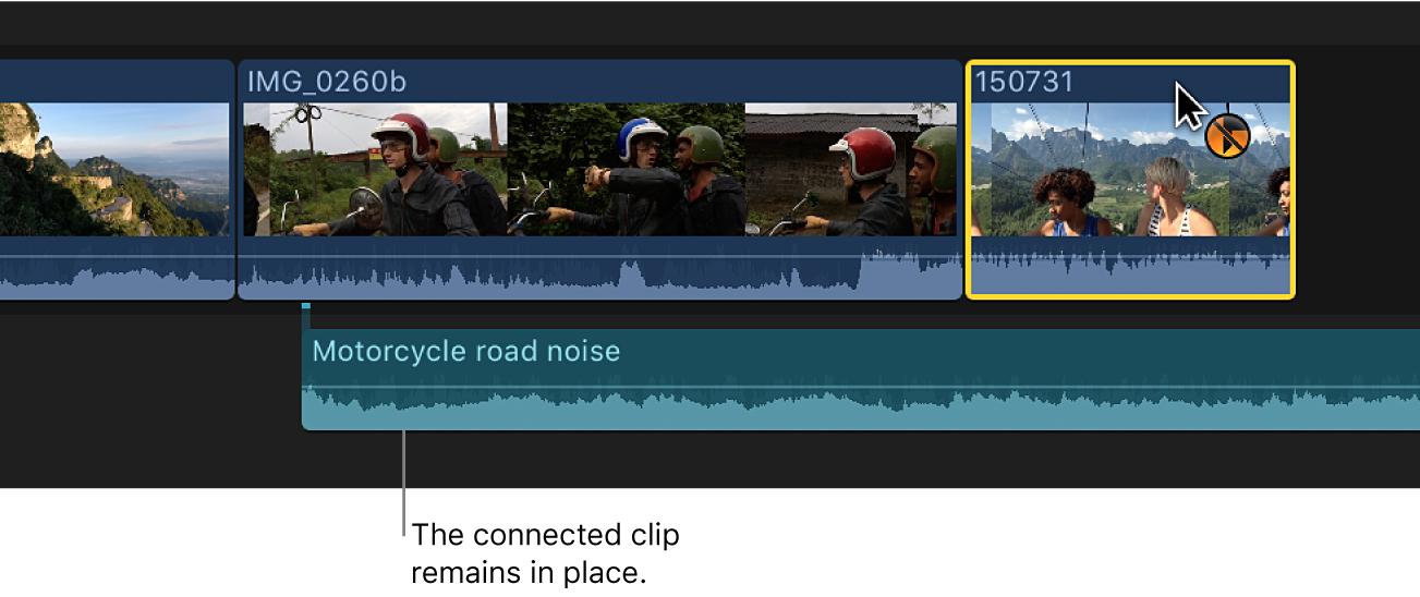 タイムライン内の新しい位置にドラッグされているクリップ。それまで接続されていたクリップは元の位置に残っています