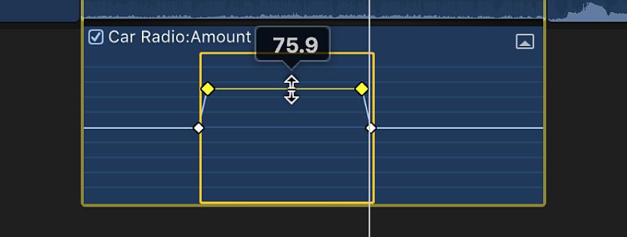 範囲内の横線コントロール。音量またはエフェクトを調整するためにドラッグされている