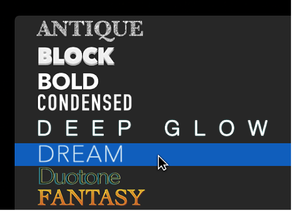 """文本检查器顶部弹出式菜单中的 2D 文本样式,""""梦幻""""文本样式预置已被选中"""