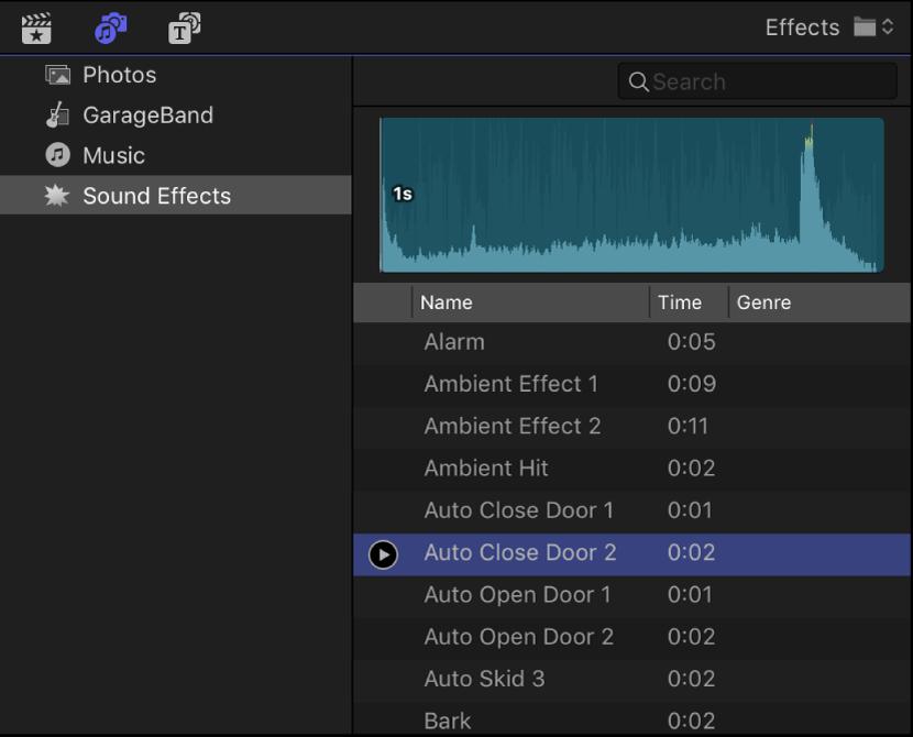 """""""照片和音频""""边栏显示""""声音效果""""类别被选定,浏览器显示声音效果片段列表"""