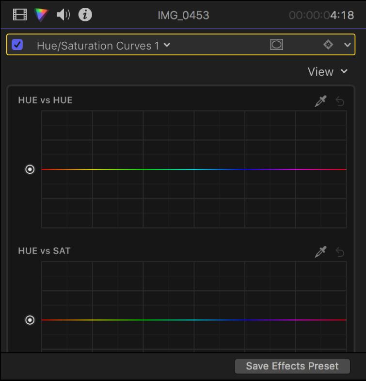 颜色检查器中的色相和饱和度曲线